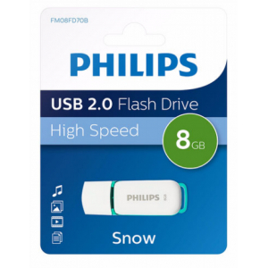 Philips FM08FD70B USB zibatmiņa 8 GB USB Type-A 2.0 Tirkīzs, Balts