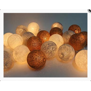 LED virtene Kokvilnas Bumbiņas IP44 / 8cm / 3.5 m / 20 gab./3v 2AA IP44 beig+brown+golden coffe